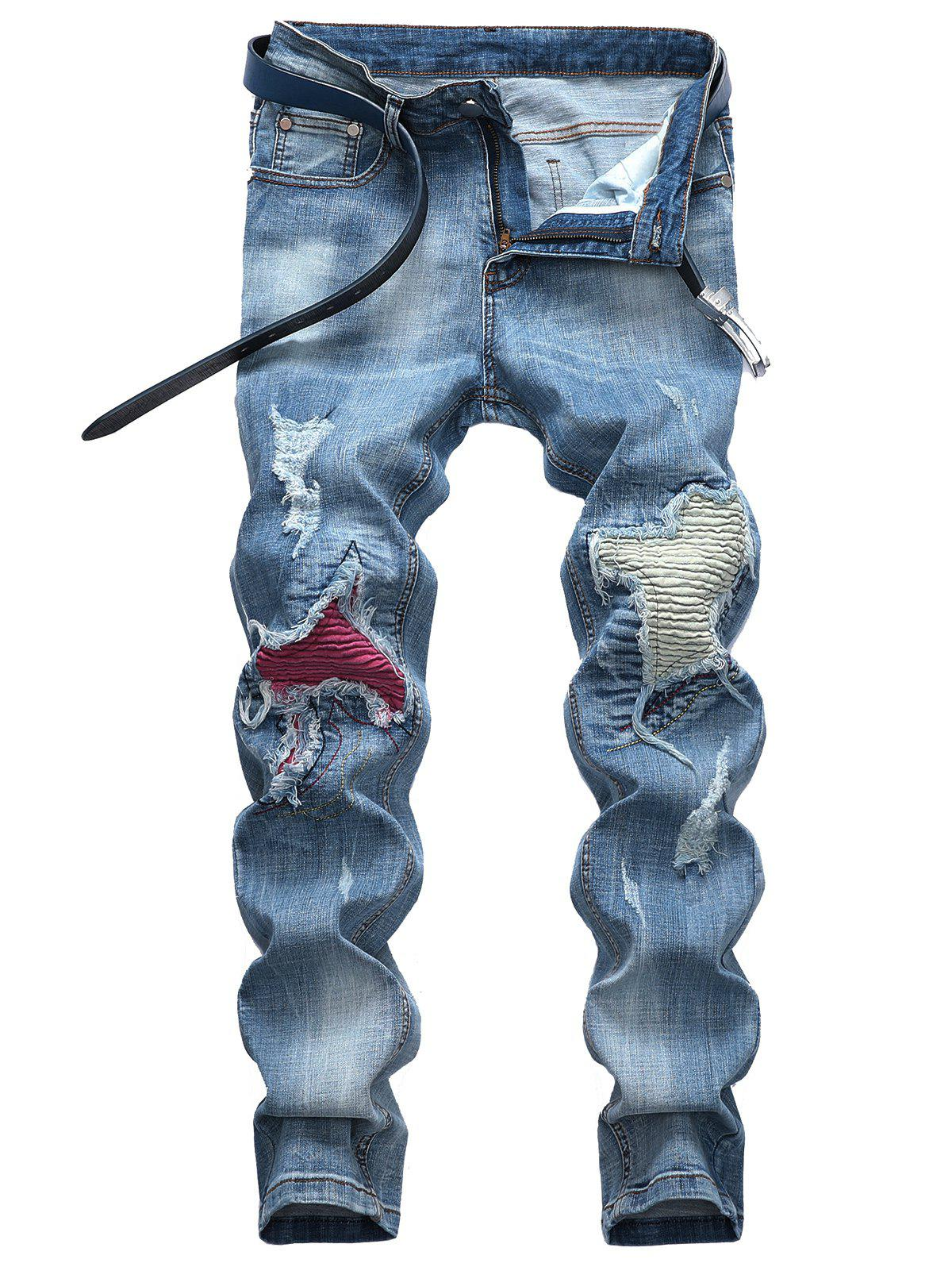 Outfits Zipper Fly Ripped Hole Patch Biker Jeans