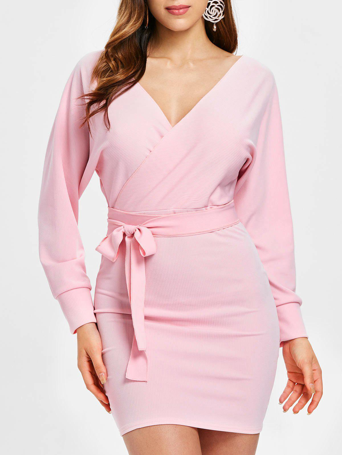 Shop Plunging Neck Long Sleeve Dress