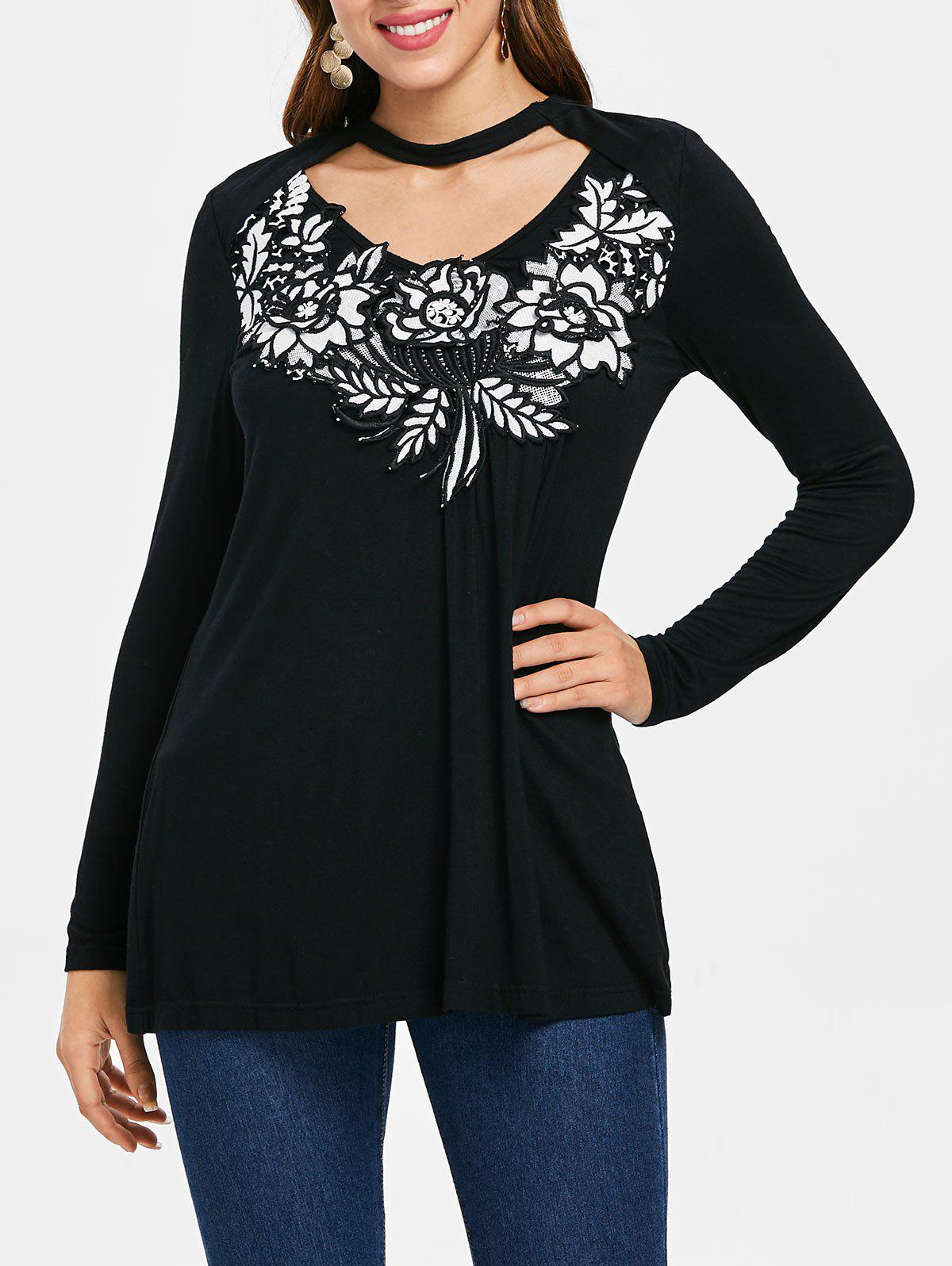 Fashion Long Sleeve Applique Choker T-shirt
