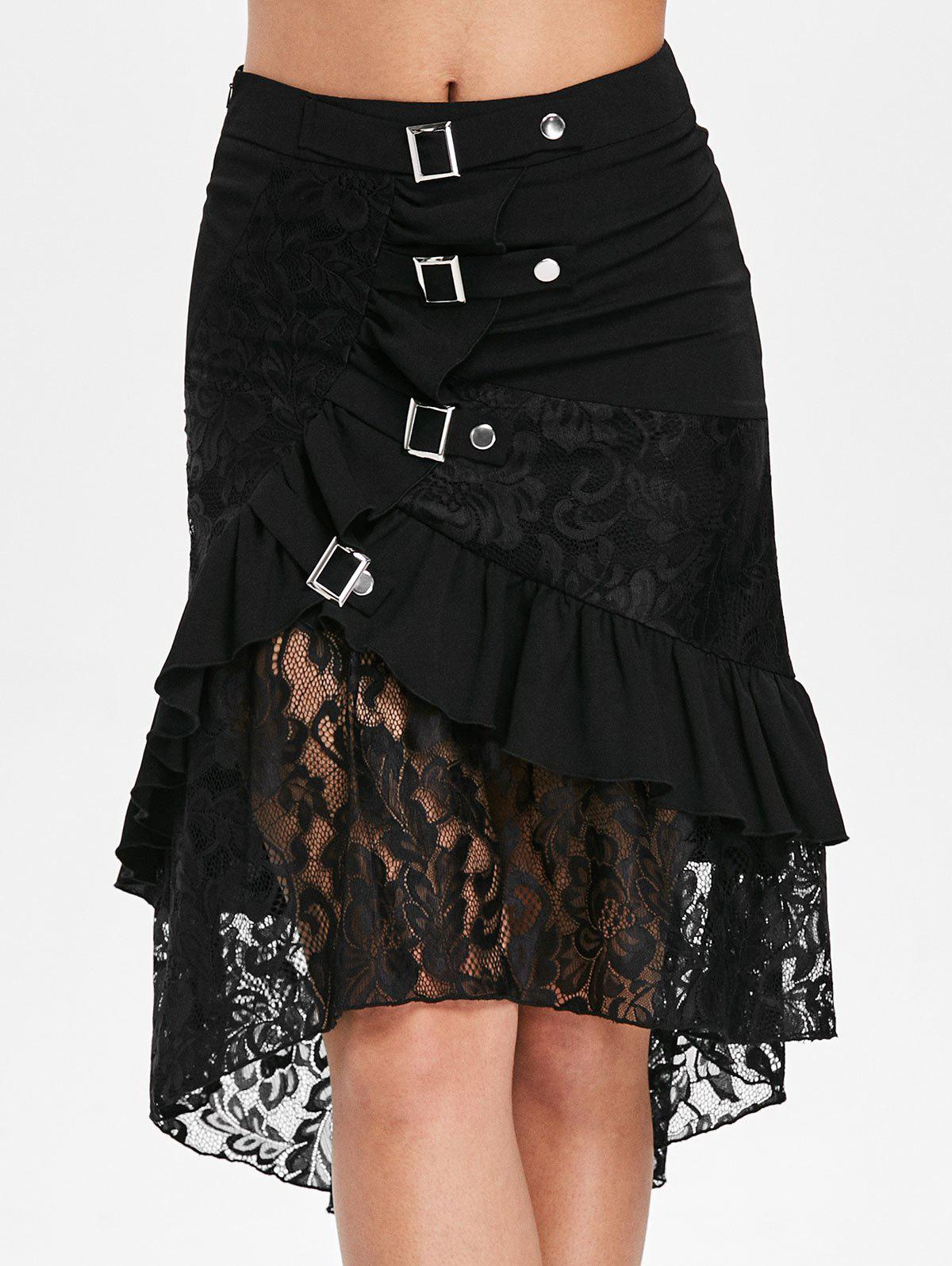 Fancy Lace Trim Ruffle High Low Skirt