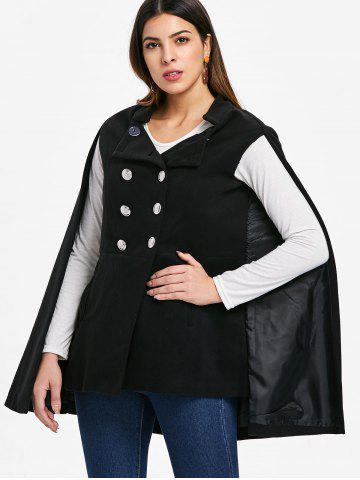 Front Pocket Double Breasted Cape Coat