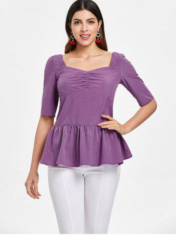Ruched Bust Half Sleeve Peplum Blouse