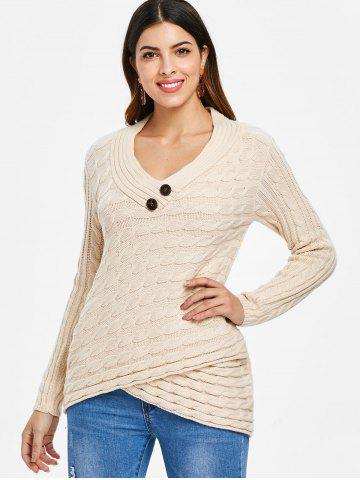 Front Slit V Neck Cable Knit Sweater