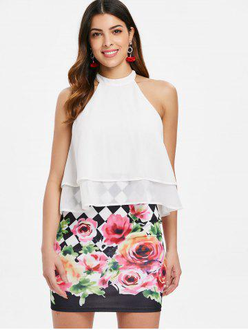 Floral Print Layered Popover Dress
