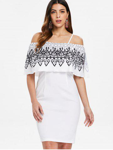 Ethnic Print Cold Shoulder Slim Dress