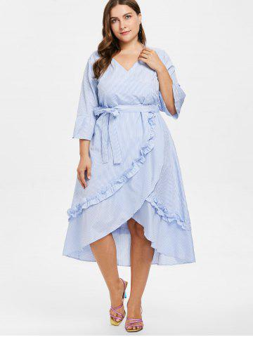 Plus Size Striped Asymmetric Belted Dress