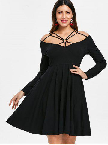 Cut Out Front Full Sleeve Dress