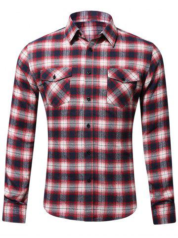 Flap Pocket Casual Plaid Shirt