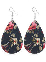 Floral Printed Water Drop Hook Earrings -