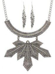 Leaf Design Pendant Chain Necklace with Earrings -