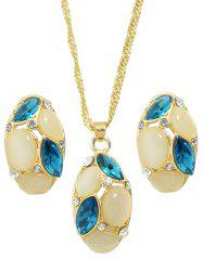 Rhinestone Oval Chain Necklace Set -