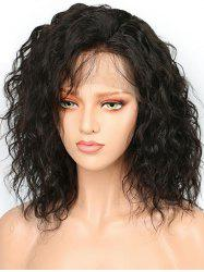 Short Side Bang Water Curly Bob Human Hair Lace Front Wig -