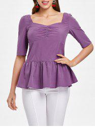 Ruched Bust Half Sleeve Peplum Blouse -