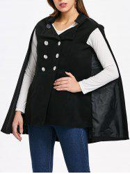 Front Pocket Double Breasted Cape Coat -