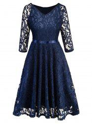 Lace V Neck Vintage Knee Length Dress -