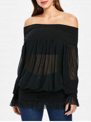 Off Shoulder Mesh Blouson Top -