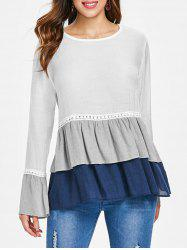 Semi Sheer Color Block Flounced Blouse -