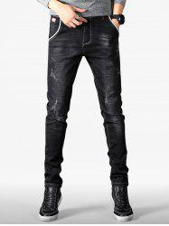 Scratch Detail Wash Faded Slim Fit Jeans -