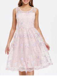 Floral Embroidery Sleeveless A Line Dress -