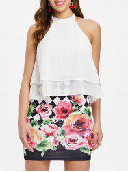 Floral Print Layered Popover Dress -