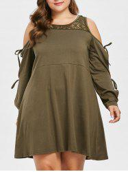 Plus Size Long Sleeve Lace Trapeze Dress -