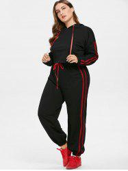 Plus Size Contrast Side Hoodie and Pants Set -