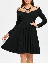Cut Out Front Full Sleeve Dress -