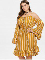 Plus Size Stripe Cold Shoulder Dress -