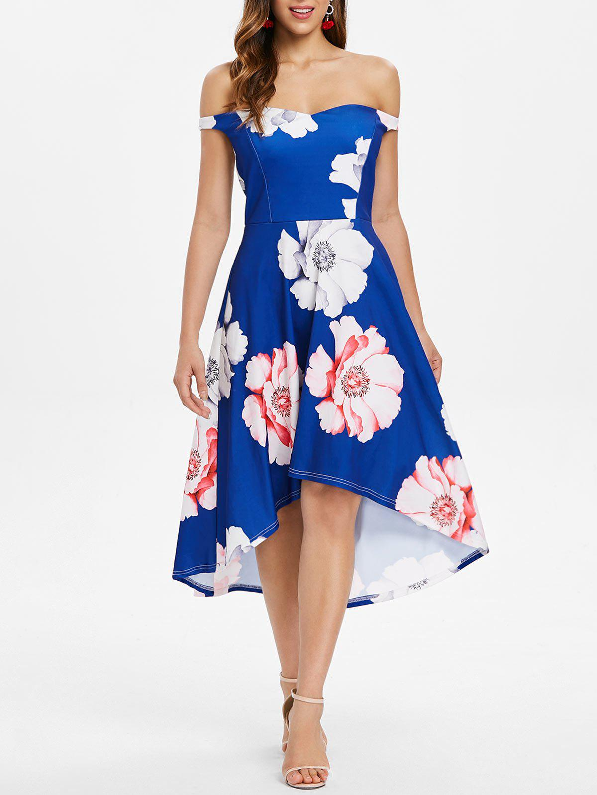 Store Floral Print Off The Shoulder Asymmetrical Dress