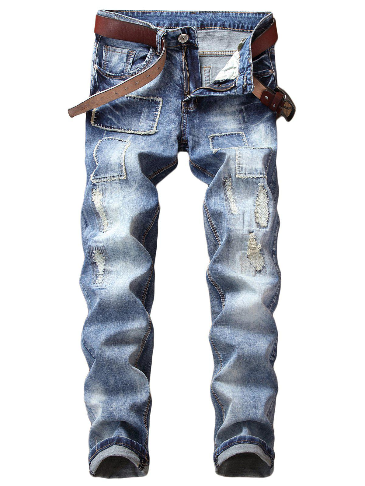 Hot Patches Destructed Vintage Style Jeans