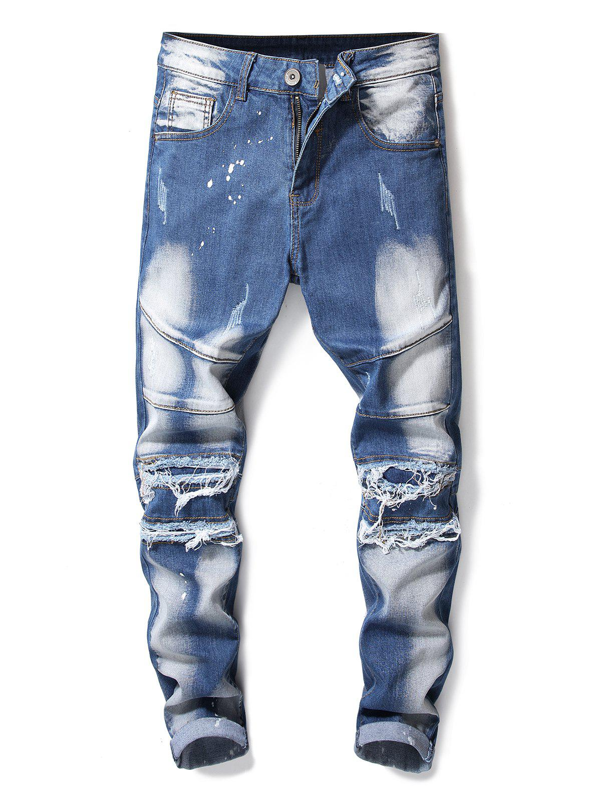 Chic Patchwork Tapered Vintage Destroyed Jeans