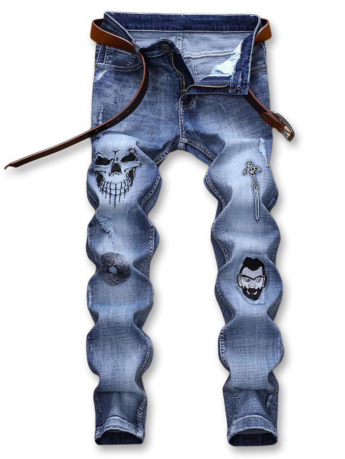 Fancy Halloween Style Embroidery Skull Ripped Detail Faded Jeans