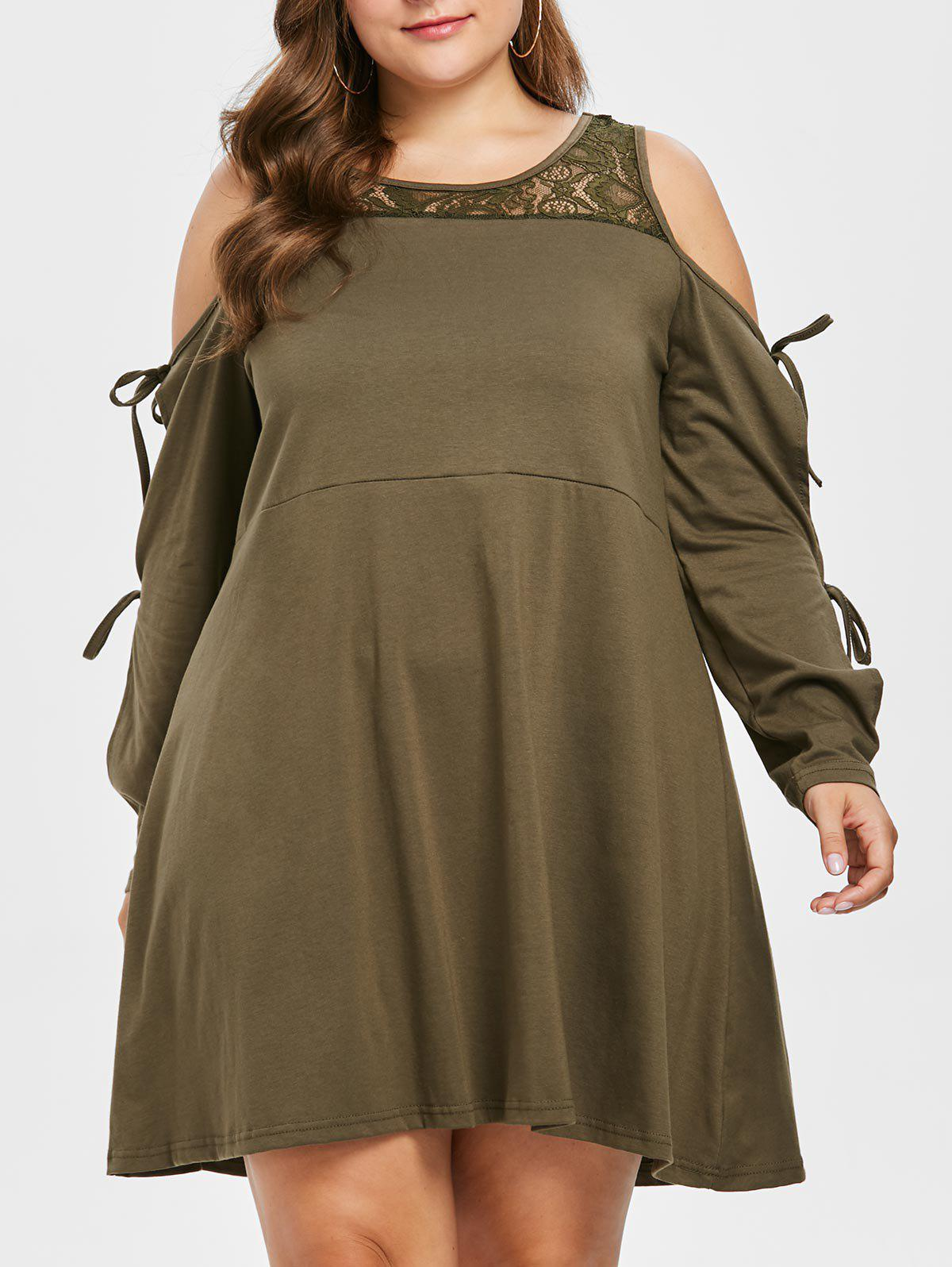 New Plus Size Long Sleeve Lace Trapeze Dress