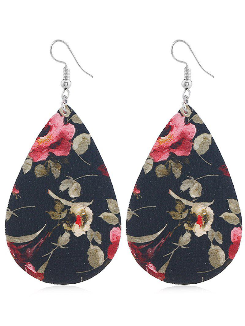 Outfit Floral Printed Water Drop Hook Earrings