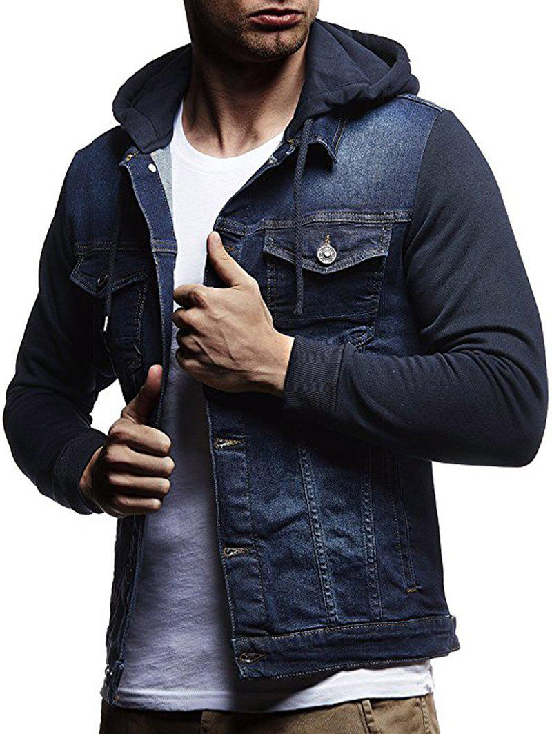 Outfit Button Closure Splicing Hooded Denim Jacket