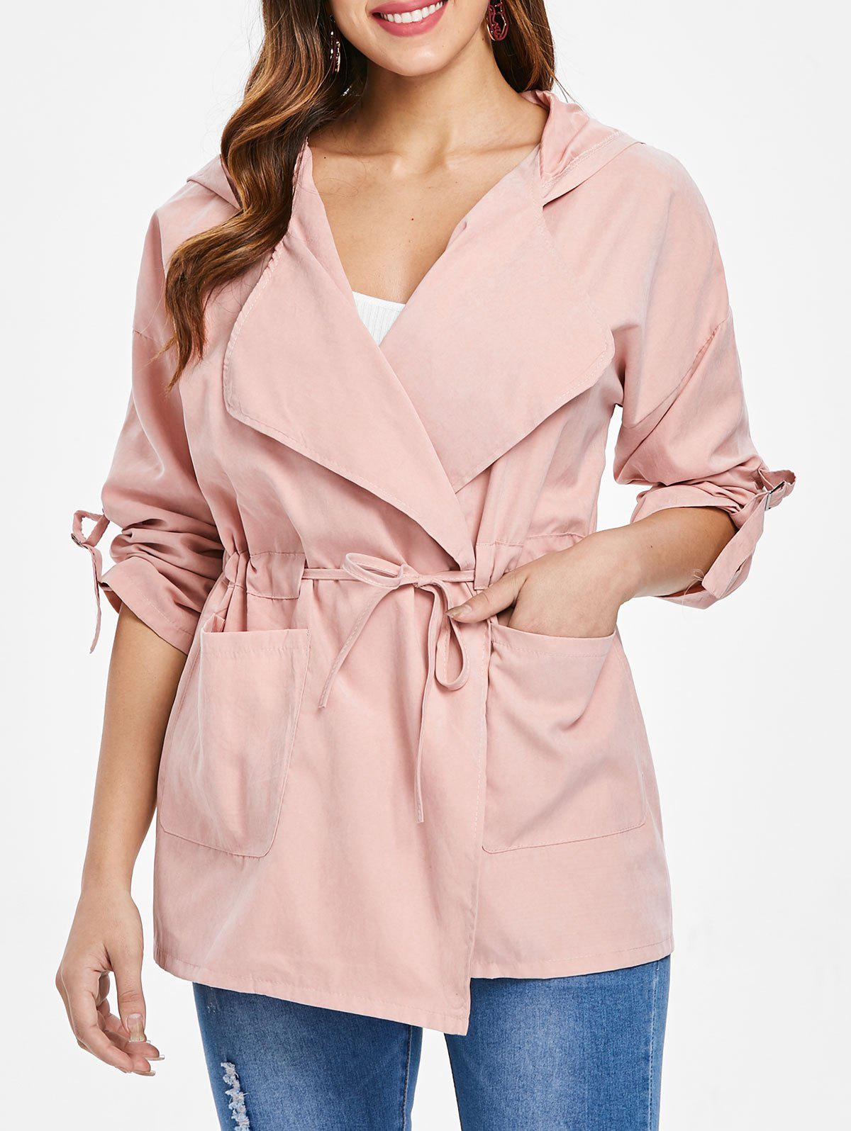 Cheap Hooded Drawstring Pockets Coat
