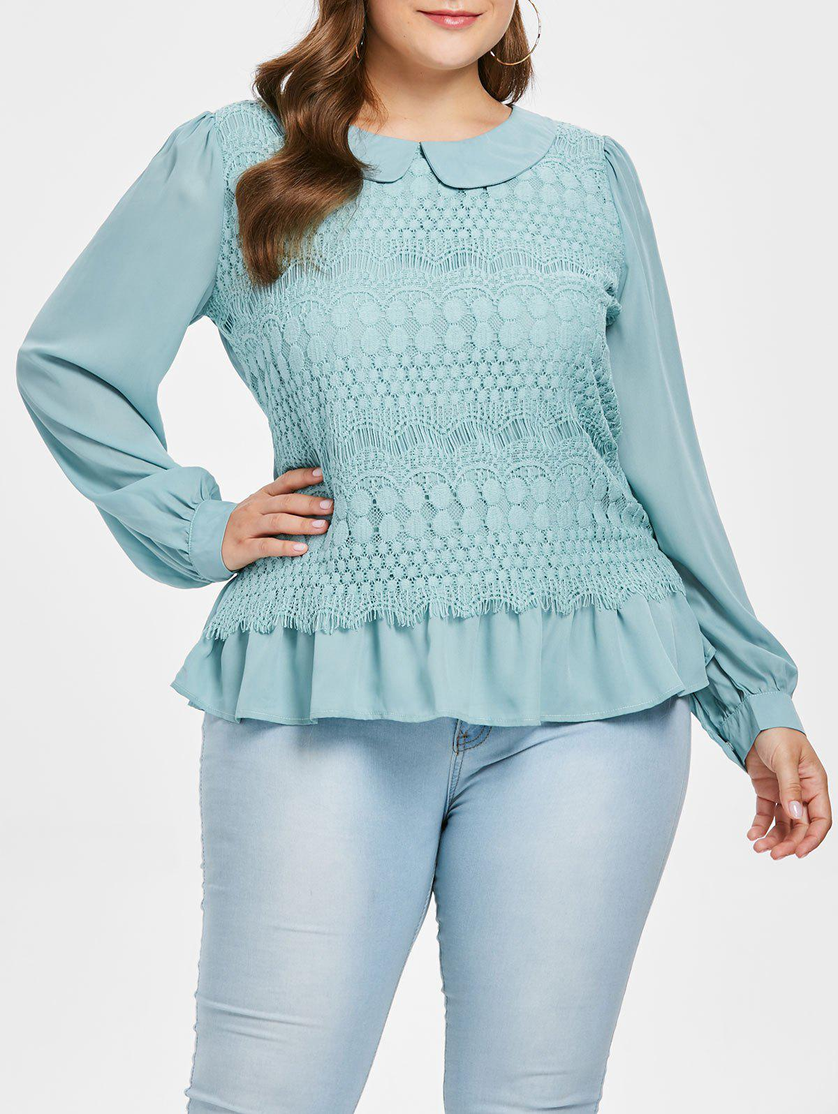 7622cd8a7b0 40% OFF   2019 Plus Size Peter Pan Collar Lace Blouse