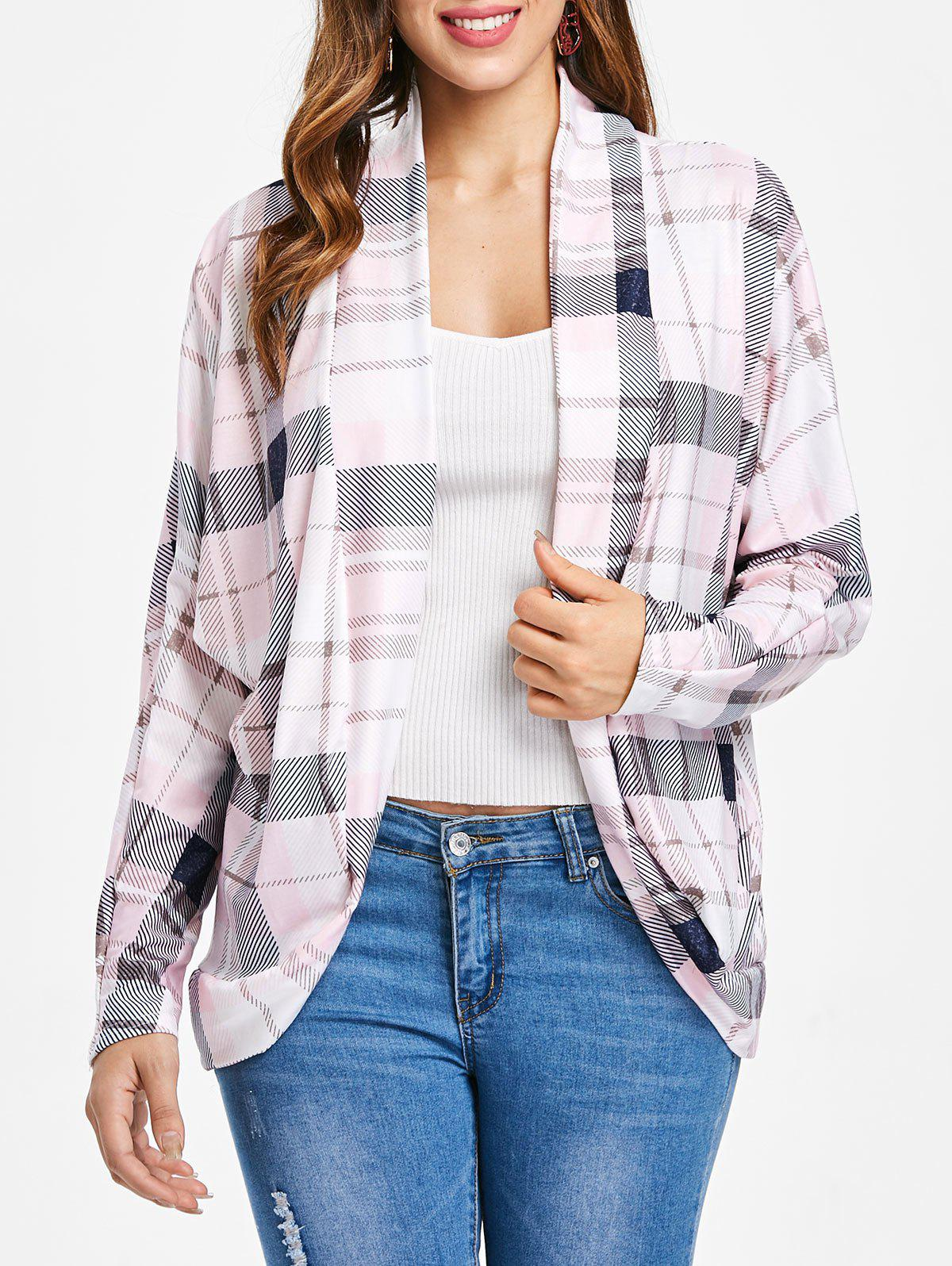 Buy Plaid Pattern Batwing Sleeve Cardigan