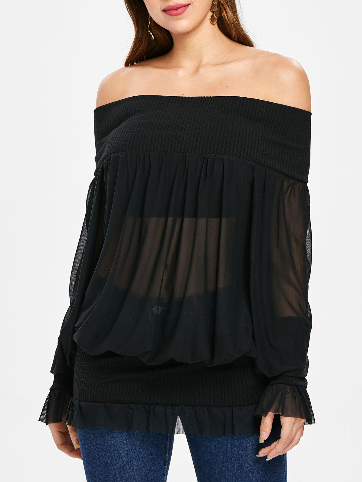 Trendy Off Shoulder Mesh Blouson Top