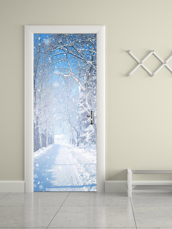Chic Winter Snow Print Removable Door Stickers