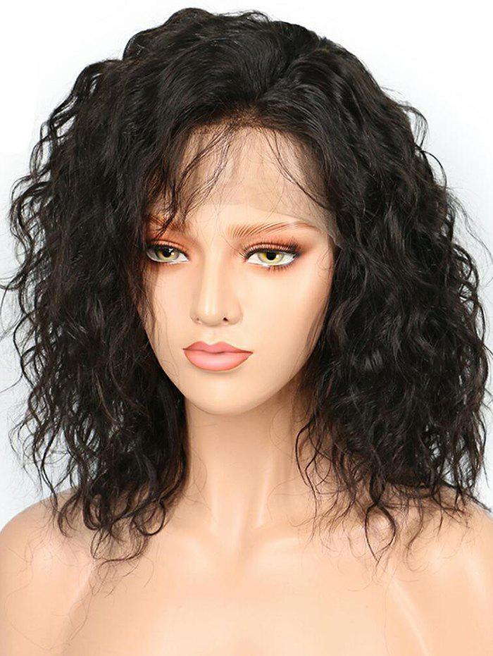 Hot Short Side Bang Water Curly Bob Human Hair Lace Front Wig