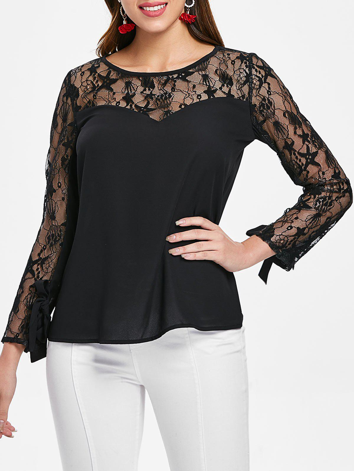 8c1c910cc69a5b 72% OFF] Lace Full Sleeve Round Neck Blouse | Rosegal