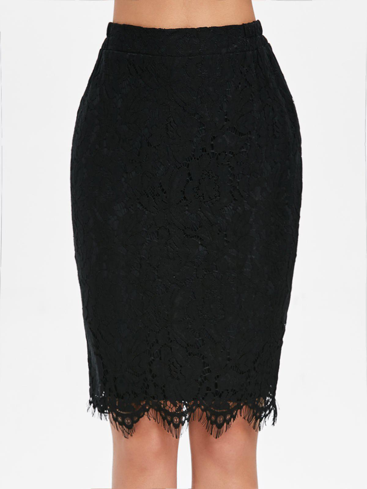 New Eyelash Lace Fitted Skirt