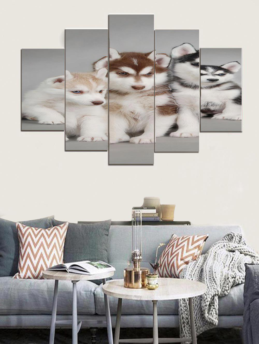 2018 Husky Puppies Print Split Wall Hanging Paintings In Multi 1pc:8 ...