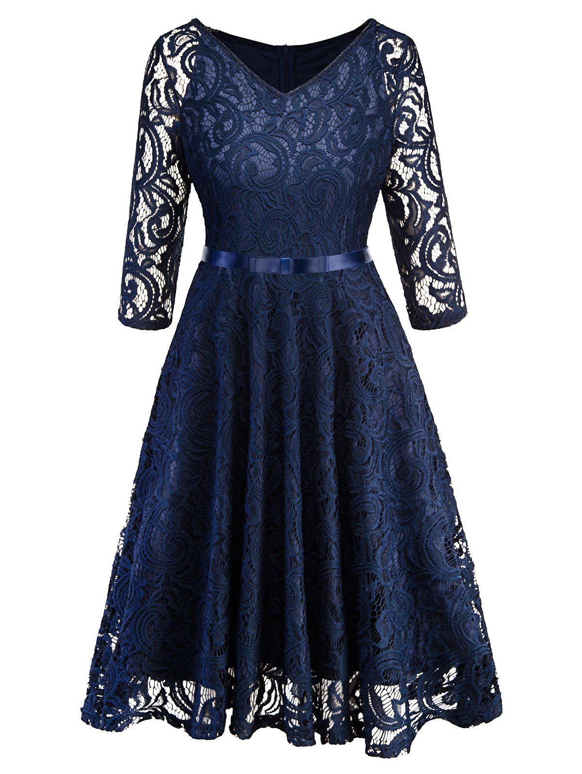 Hot Lace V Neck Vintage Knee Length Dress