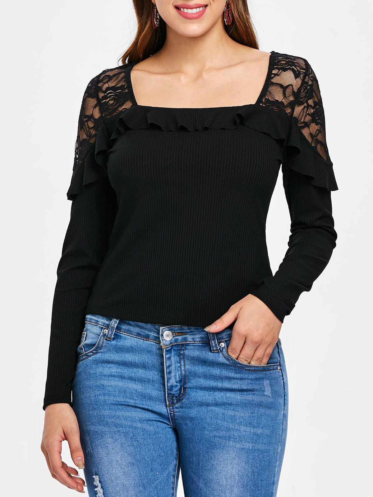 Buy Lace Panel Ruffle Embellished Ribbed Top