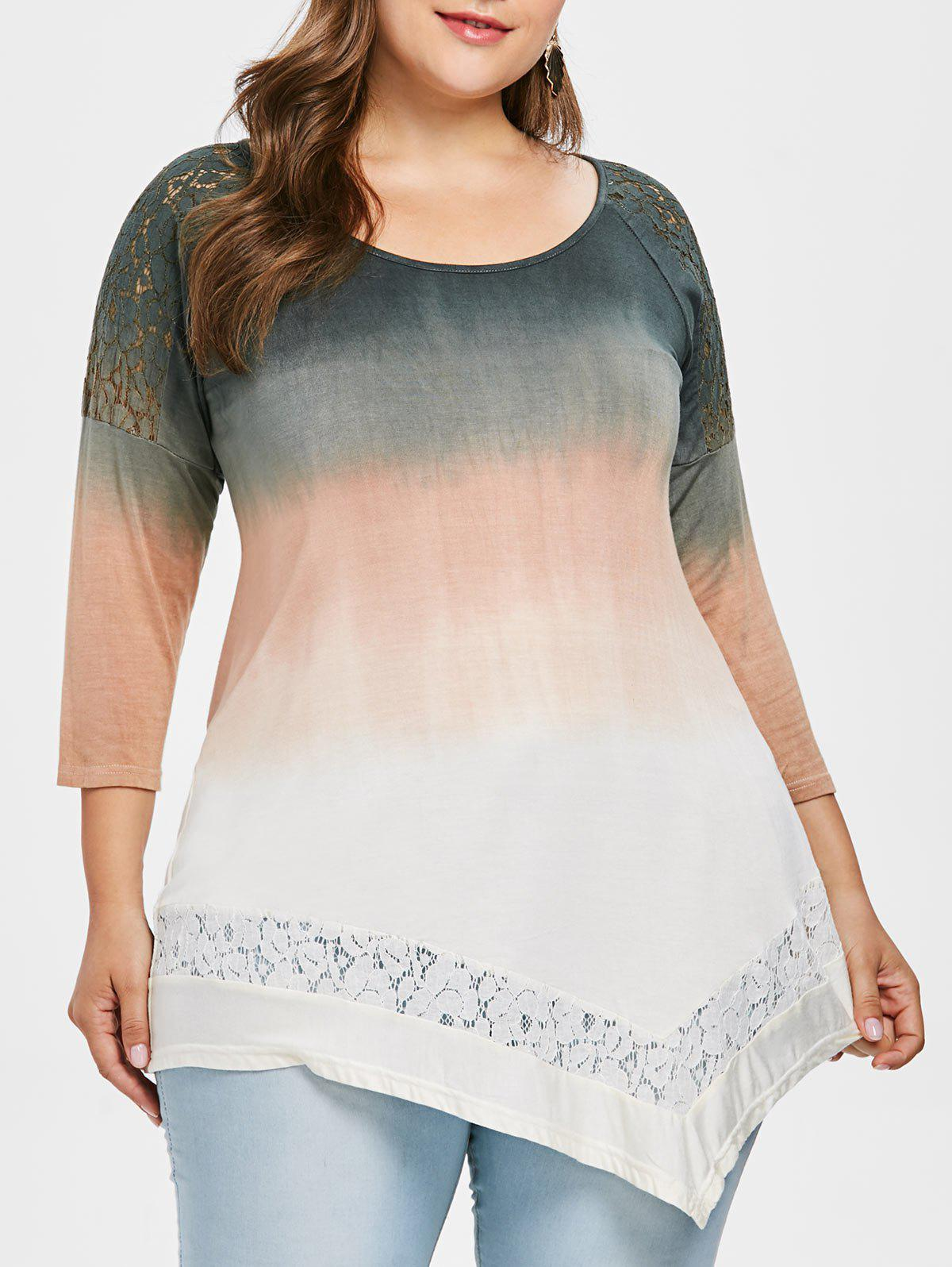 Affordable Plus Size Gradient Color Asymmetric T-shirt