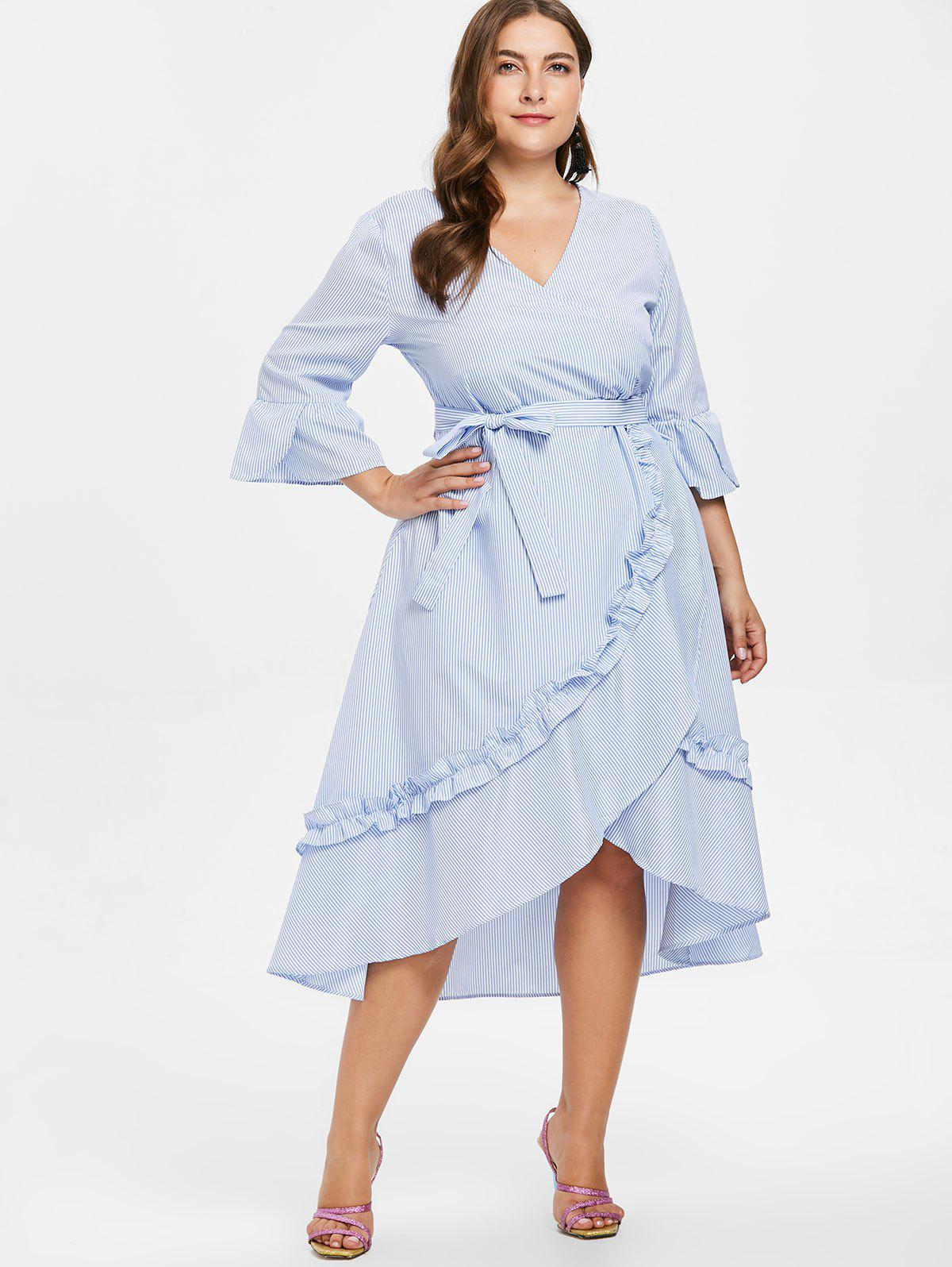 Unique Plus Size Striped Asymmetric Belted Dress