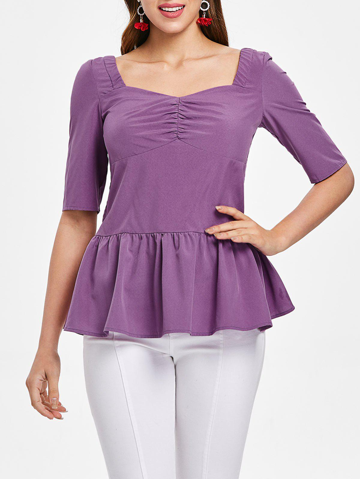 Online Ruched Bust Half Sleeve Peplum Blouse
