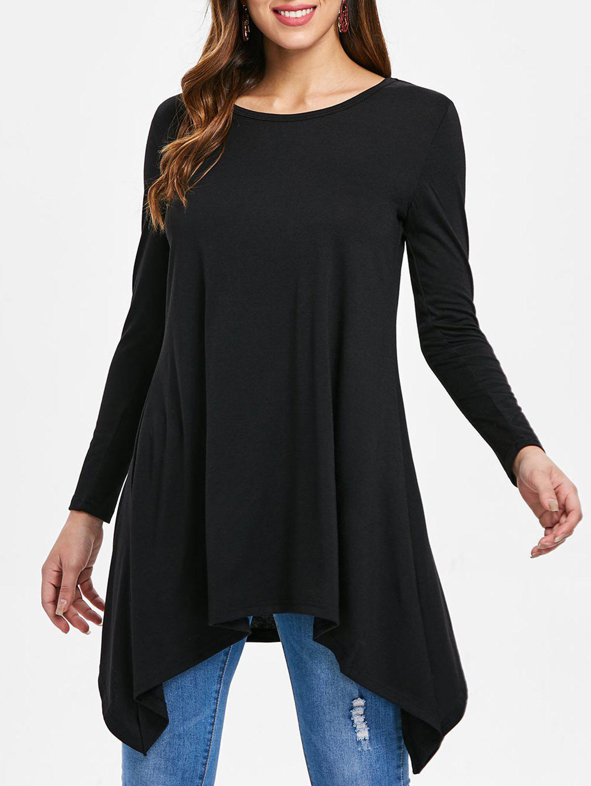 Outfits Asymmetrical Round Neck T-shirt